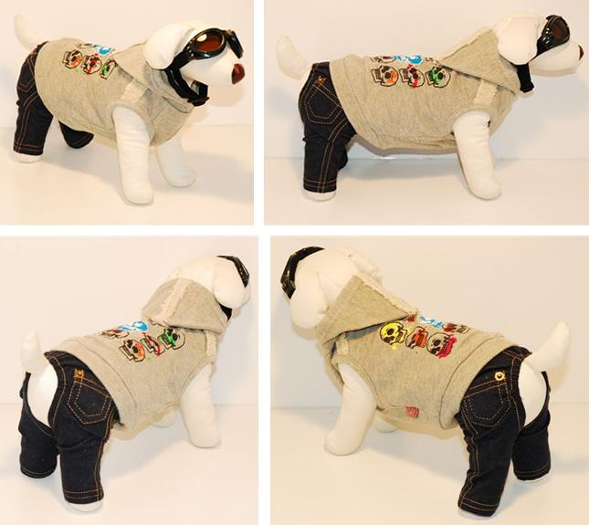 犬服のビックスマイル「ナインスカルのフードパーカー★グレー[Dogginess]」