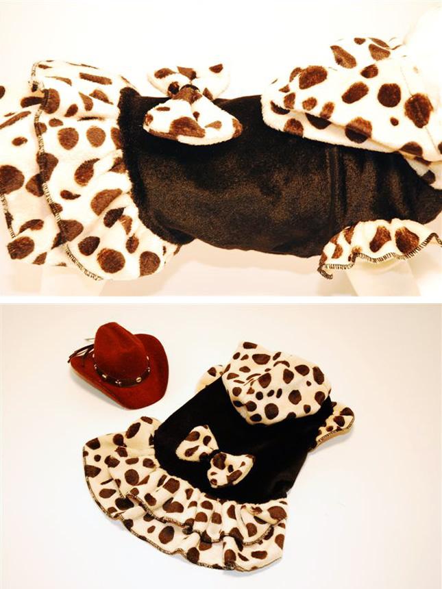 犬服のビックスマイル「ダルメシアンなリボンふりふりワンピース★ブラック」