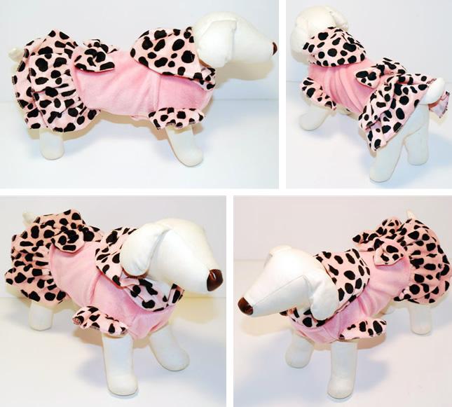 犬服のビックスマイル「ダルメシアンなリボンふりふりワンピース★ピンク」