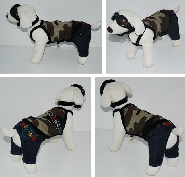 犬服のビックスマイル「アーミーキャミソール★カーキ」