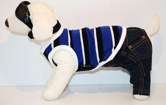 犬服のビックスマイル「ポロシャツボーダータンクトップ[Domarsu Egg]」