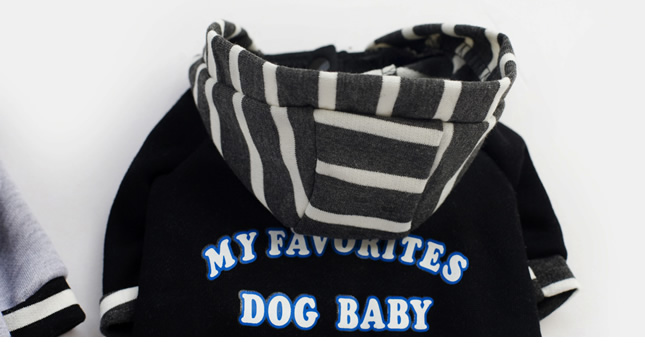 犬服のビックスマイル「ボーダーフードのパーカージャケット」