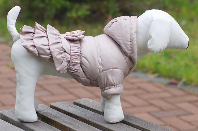犬服のビックスマイル「セレブリボンのフレアコート XS/S/M」
