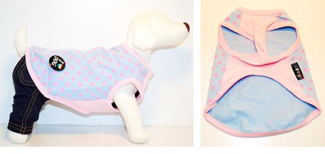 犬服のビックスマイル「ブルーピンクのドット トレーナー(バッジ付)[Domarshu Egg]」