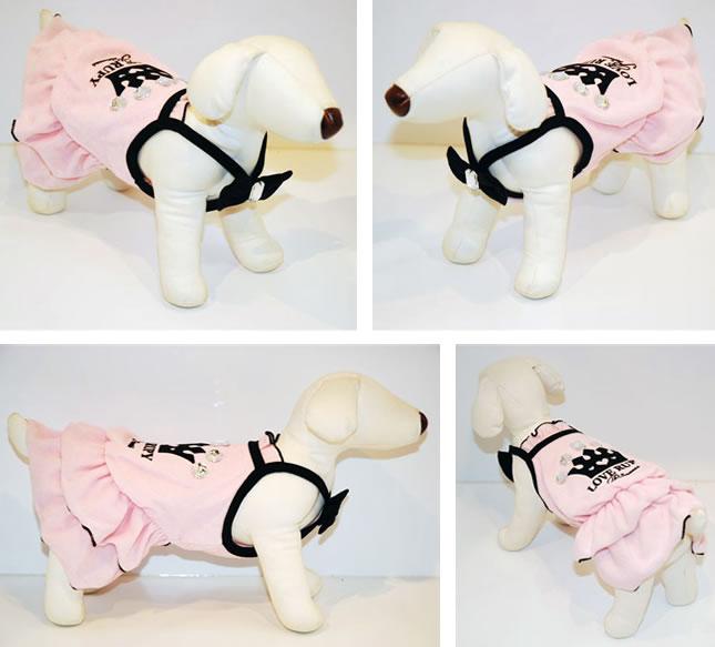 犬服のビックスマイル「パイルクラウンワンピース★ピンク[RUPY]」