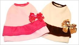 犬服のビックスマイル「キュートリボンのモコモコワンピース★ピンク」